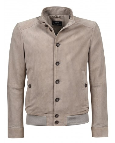 PERFORATED LEATHER JACKET - SAND