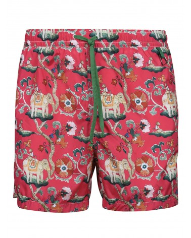SWIM SHORTS ELEPHANT PATTERN - RED